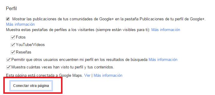 conectar pagina google plus