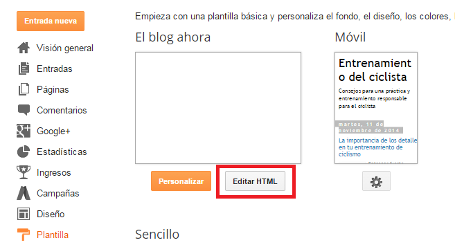 editar html en blogger