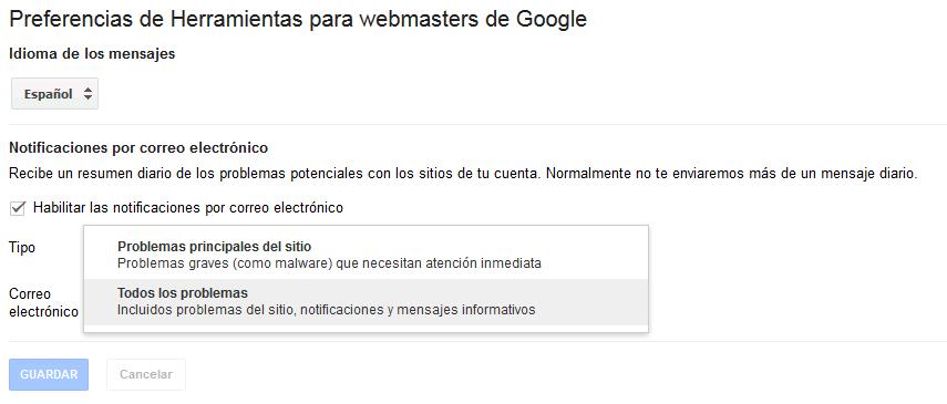 Preferencias de Herramientas para webmasters de Google