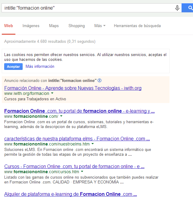 comando intitle de google