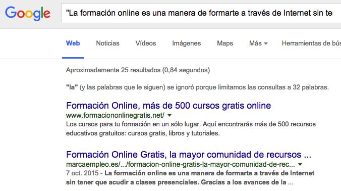 contenido duplicado google