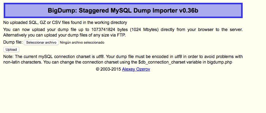 importar base de datos grandes en phpMyAdmin