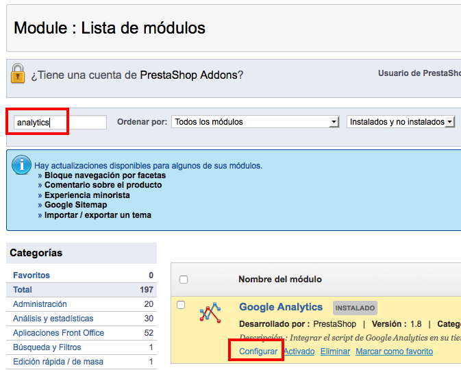 modulo analytics prestashop