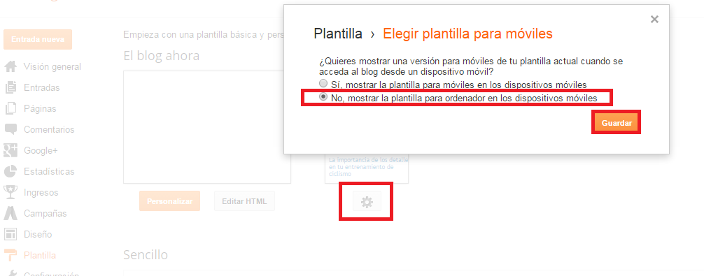 desactivar plantilla movil blogger
