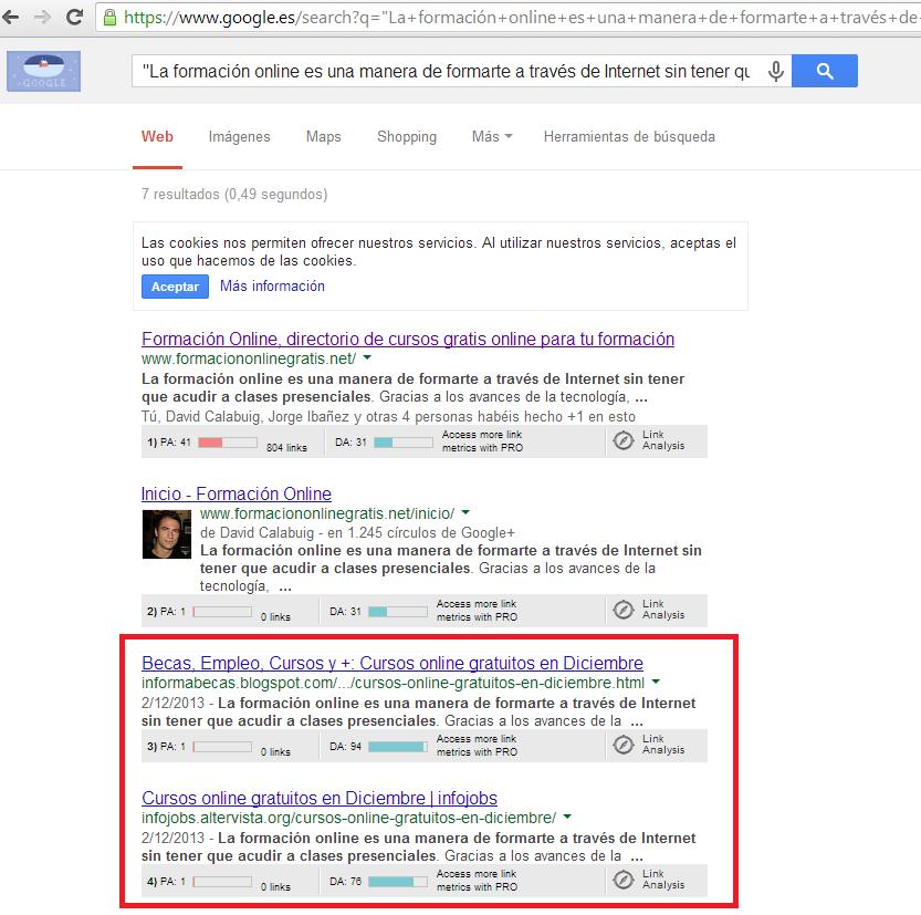 ejemplo contenido duplicado con google